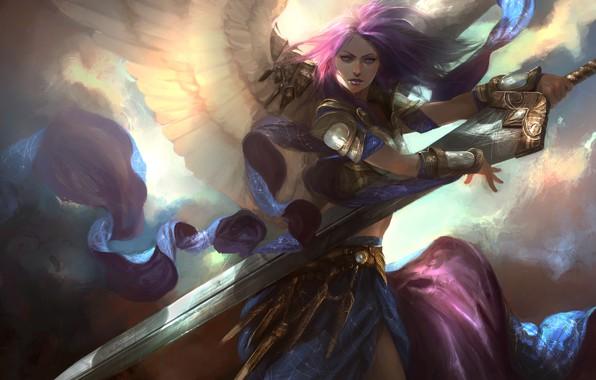 Picture girl, sword, fantasy, weapon, wings, blue eyes, Angel, digital art, artwork, warrior, fantasy art, purple …