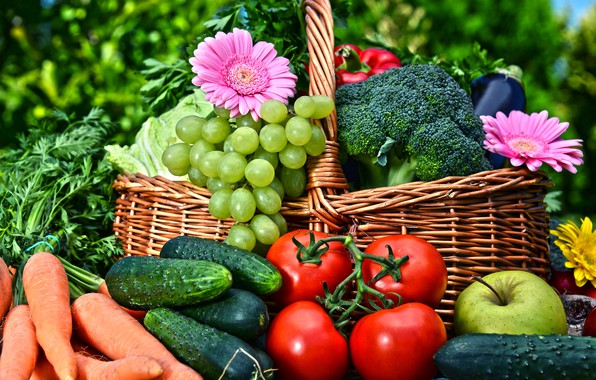 Picture greens, flowers, basket, Apple, grapes, pepper, fruit, gerbera, vegetables, tomatoes, carrots, cabbage, bokeh, cucumbers