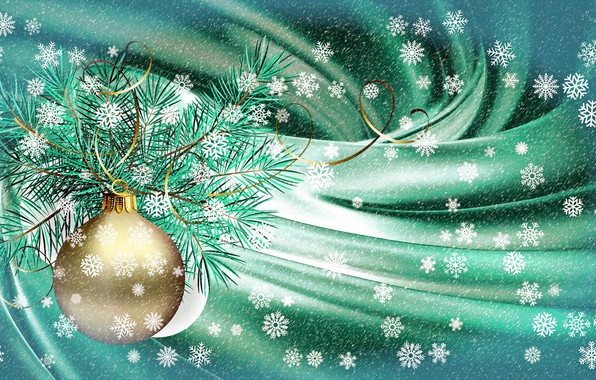 Picture snowflakes, collage, New Year, Christmas, serpentine, picture, spruce branch, Christmas card, vignette, screensaver on your …