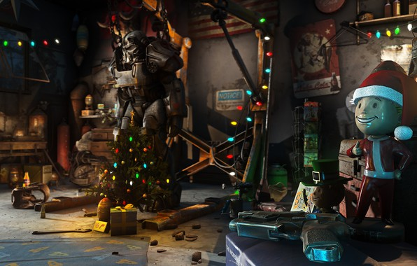 Picture The game, Christmas, New year, Weapons, Decoration, Garage, Holiday, Fallout, Christmas, Tree, Toys, Bethesda, Bethesda …