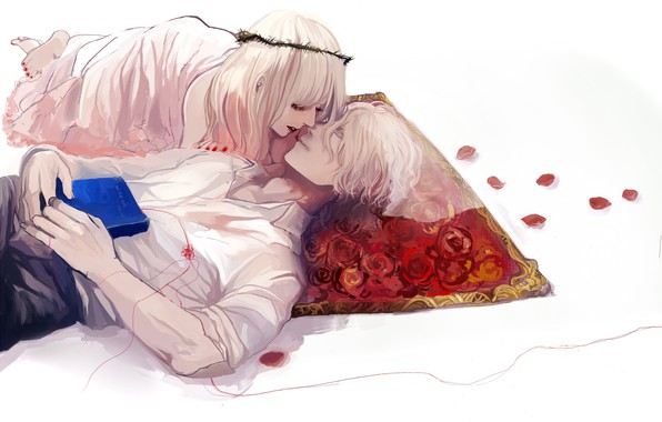 Picture romance, petals, book, Mat, lovers, two, a couple, wreath, white hair, on the back, white …