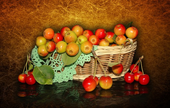 Picture nature, mood, apples, beauty, basket, beautiful, beautiful, kitaika, beauty, harmony, the Wallpapers, wildflowers, cool, bouquet, ...