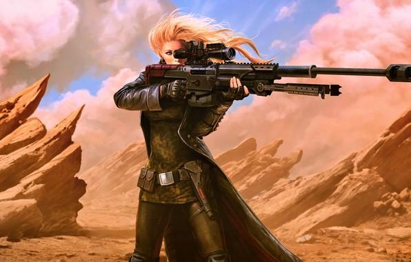 Picture girl, fantasy, desert, weapon, Warrior, blonde, digital art, rifle, artwork, concept art, fantasy art, futuristic
