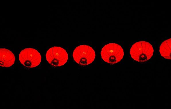 Picture background, black, minimalism, lanterns, Chinese lanterns