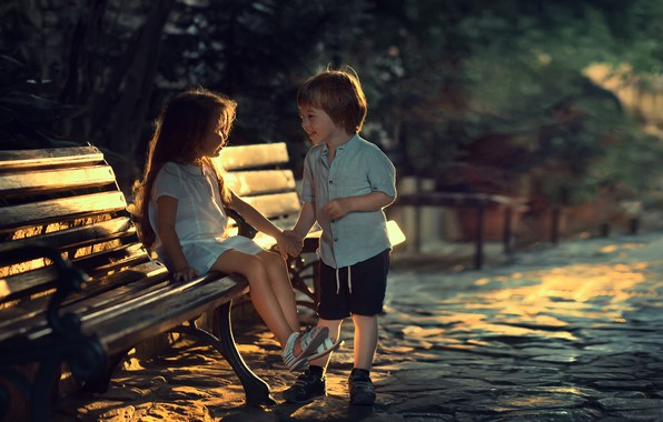 Picture bench, children, street, the evening, boy, girl, a couple, Marianne Smolin