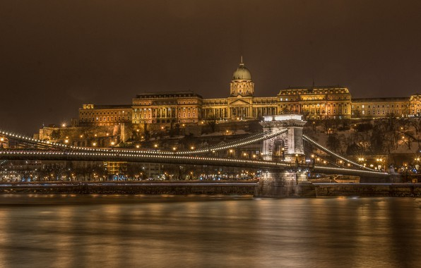 Picture night, bridge, river, Parliament, Hungary, Budapest