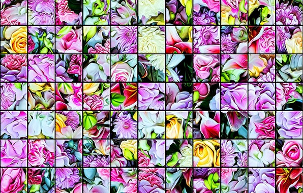 Picture mosaic, texture, stained glass, bright colors, flower cuts, glass tile, abstract drawing