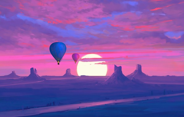 Picture twilight, sky, desert, landscape, nature, sunset, art, mountains, clouds, sun, digital art, artwork, Hot air …