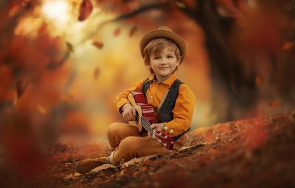 Picture autumn, nature, guitar, boy, falling leaves, child, Jansone Dace