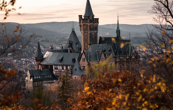 Picture autumn, landscape, mountains, nature, the city, castle, home, Germany, Wernigerode, Wernigerode