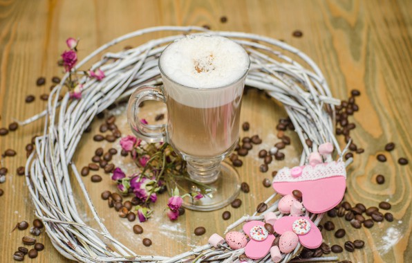 Picture coffee, milk, wood, decor, coffe, coffee bean