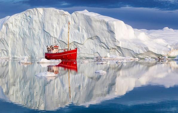 Picture sea, reflection, Denmark, iceberg, boat, Greenland, Denmark, Greenland, Disko Bay, the boat, Disko Bay