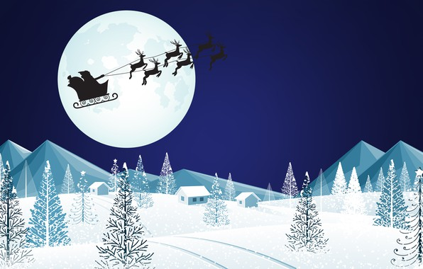 Picture The moon, Christmas, Silhouette, Background, New year, Holiday, Santa Claus, Art, Santa Claus, Christmas, Art, ...