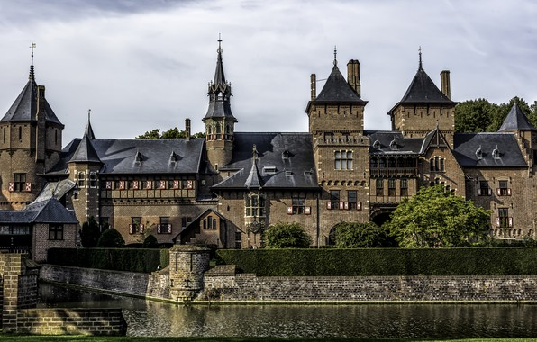 Picture pond, castle, Netherlands, Holland, Castle De Haar