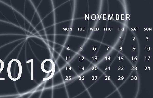 Picture calendar, November, 2019