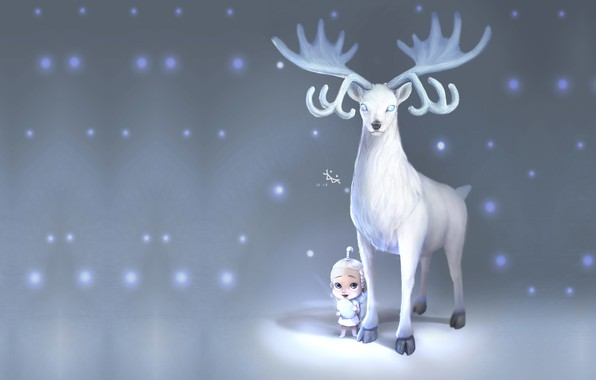 Picture winter, snow, deer, fantasy, art, children's, ji chang chol, Deer with baby
