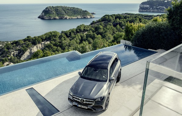 Picture machine, water, Mercedes-Benz, crossover, GLS, full-size SUV, 2019