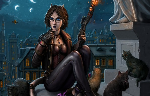 Picture roof, cat, night, the city, gun, the moon, tail, Crescent