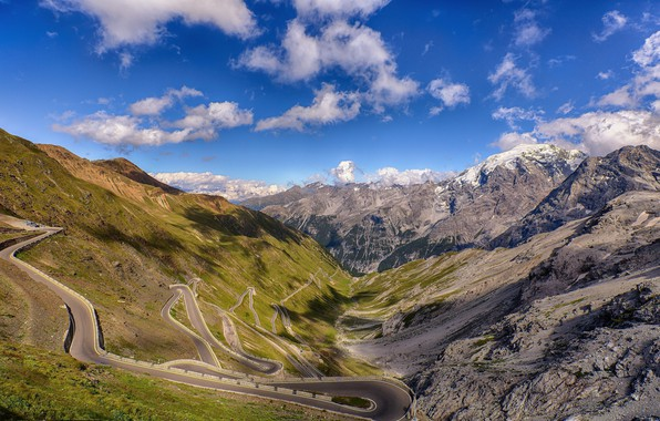 Picture road, landscape, mountains, canyon, panorama, serpentine, the view from the top