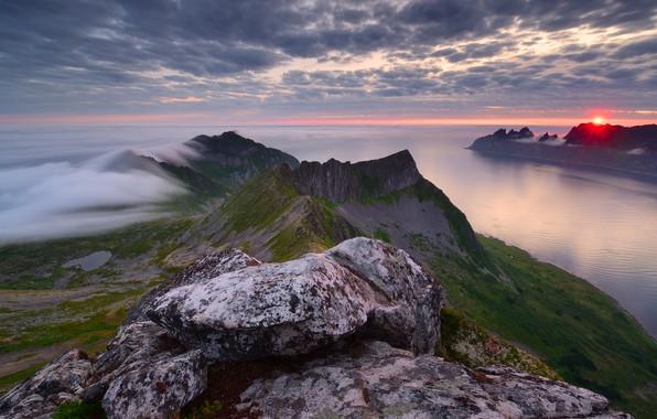 Picture sea, the sun, fog, sunrise, rocks, dawn, island, morning, Norway, Senja, Maxim Evdokimov