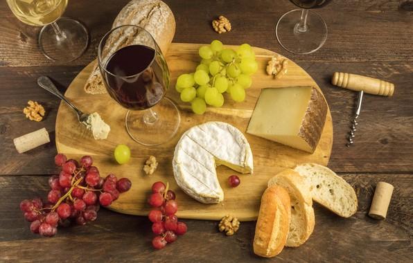 Picture table, wine, cheese, glasses, bread, grapes, tube, Board, plug, corkscrew, walnut