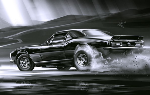 Picture Car, Art, Black, Smoke, Sketch, Alexander Sidelnikov, Chevrolet Camaro SS 1969