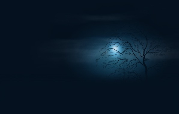 Picture night, tree, the moon, figure