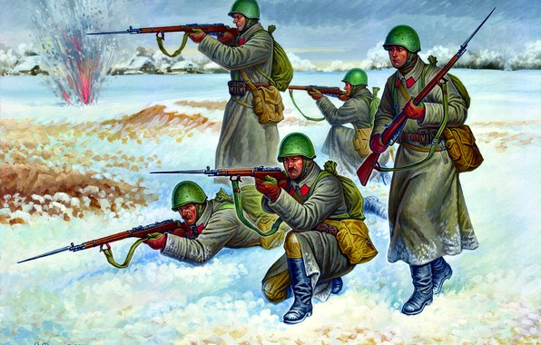 Picture Winter, Soldiers, USSR, Mosin Rifle, The Red Army, WWII