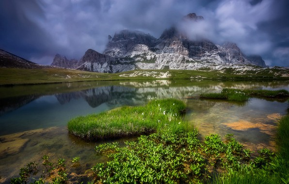 Picture grass, clouds, landscape, mountains, nature, lake, stones, Italy, The Dolomites