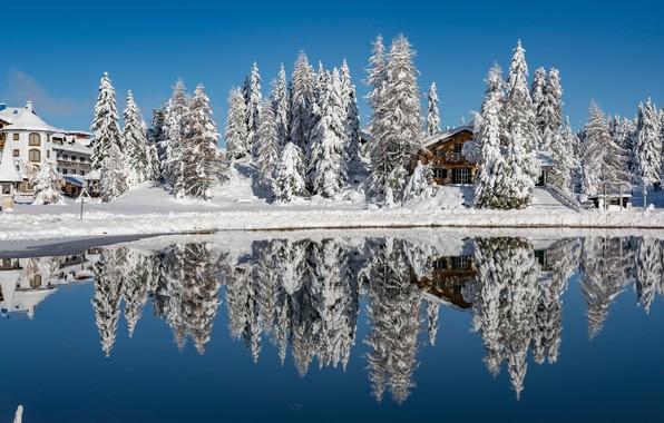 Picture photo, Nature, Winter, Reflection, Lake, Austria, Snow, Styria, Turracher See