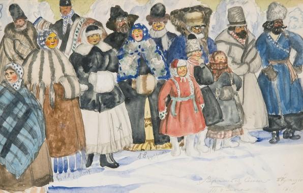 Picture 1919, Boris Mikhailovich Kustodiev, watercolour over pencil on paper, DESIGN FOR THE SPECTATORS IN THE ...