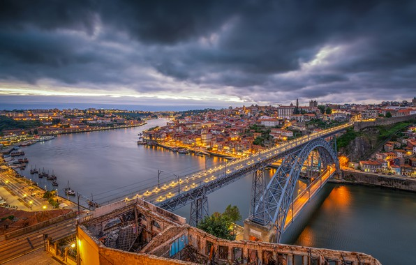 Picture the sky, clouds, clouds, bridge, lights, river, home, the evening, lights, Portugal, the view from …