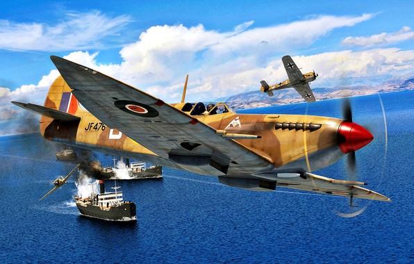 Picture Sea, Ships, Air force, Shrike, Fw.190A, Spitfire Mk.VIII, Desert Air Force, 92 Squadron