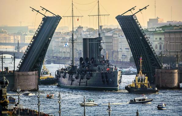 Picture bridge, river, Aurora, Aurora, river, bridge, cruiser, cruiser, Neva, Petersburg, Petersburg, Neva, Alexander Petrosyan