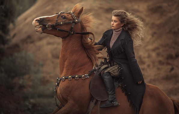 Picture girl, horse, horse, rider, gallop, horse