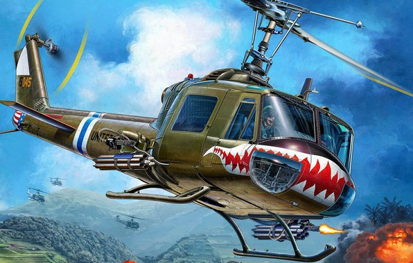 Picture Vietnam, Bell, Iroquois, Huey, American multi-purpose helicopter, UH-1C