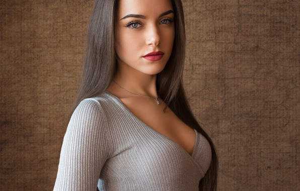 Picture girl, cleavage, long hair, brown hair, breast, photo, blue eyes, model, lips, face, chest, necklace, …