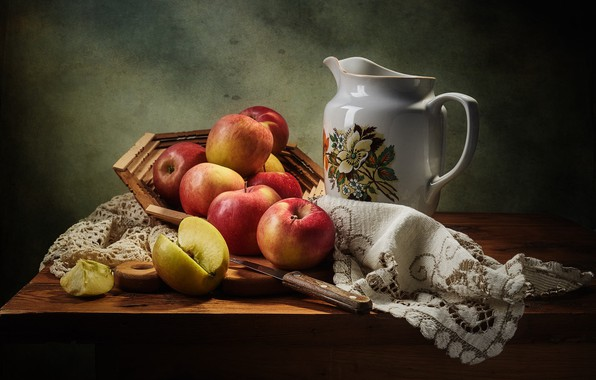 Picture the dark background, table, apples, Apple, food, knife, dishes, red, fabric, pitcher, fruit, still life, …