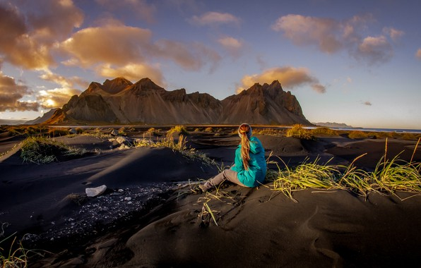 Picture sand, the sky, grass, girl, clouds, light, landscape, mountains, nature, mood, rocks, hills, shore, clothing, …
