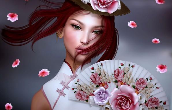 Picture girl, flowers, fan, Asian