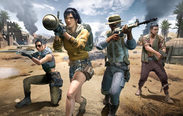 Picture girl, war, soldiers, characters, PlayerUnknown's Battlegrounds