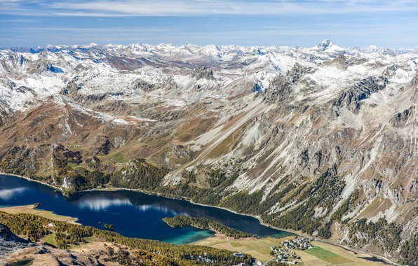 Picture trees, mountains, lake, rocks, field, Switzerland, Alps, panorama, houses, the view from the top