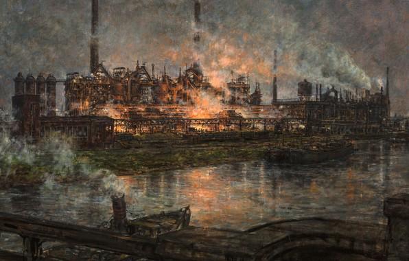 Picture German painter, German painter, oil on board, Thyssen's Meiderich Steel Works by Night, Hans Cartographer, …