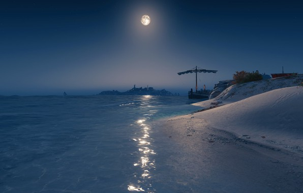 Picture sea, the sky, stars, mountains, Assasins creed