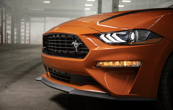 Picture orange, Mustang, Ford, before, 2020, fastback