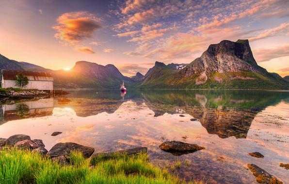 Picture clouds, sunset, rocks, boat, island, Norway, Norway, Ed Gordeev, Husfjellet