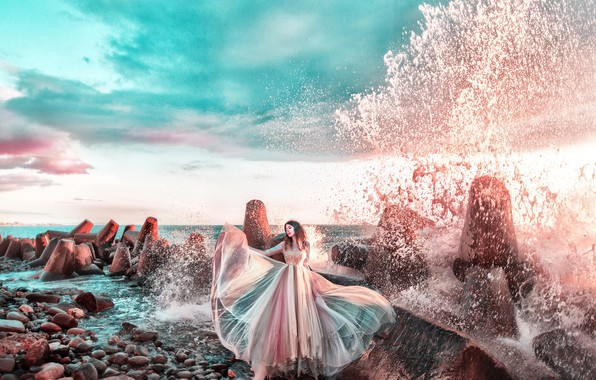 Picture water, stones, Girl, dress, Maria Lipina