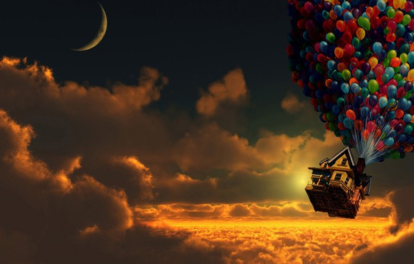 Picture house, up, cartoon, balloons