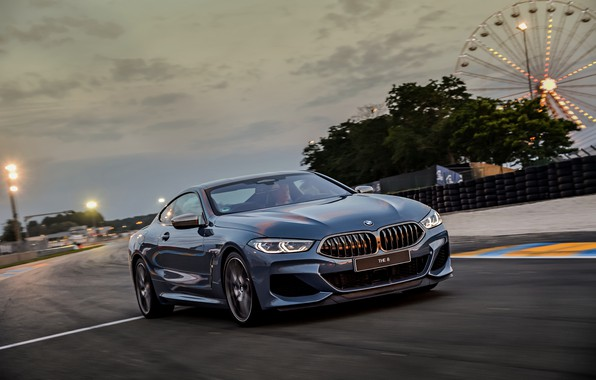Picture the sky, coupe, track, BMW, Coupe, 2018, gray-blue, 8-Series, pale blue, M850i xDrive, Eight, G15