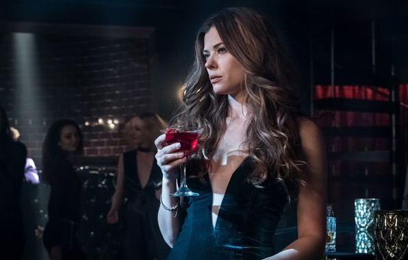 Picture woman, bar, dress, alcohol, spectacular, Gotham